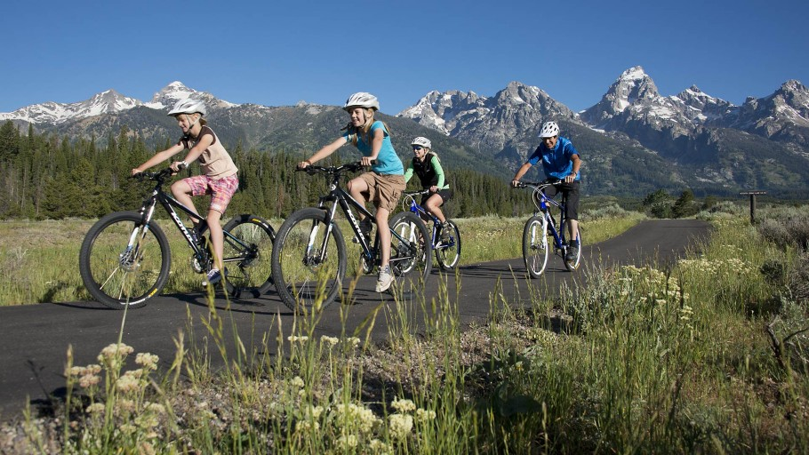 Biking on the pathways in Grand Teton National Park