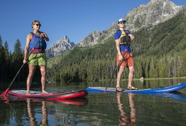 Paddleboarding at String Lake in Grand Teton National Park