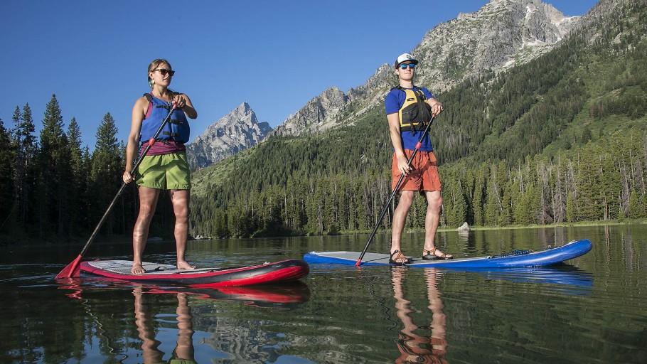 Paddleboarding at String Lake in Grand Teton National Park
