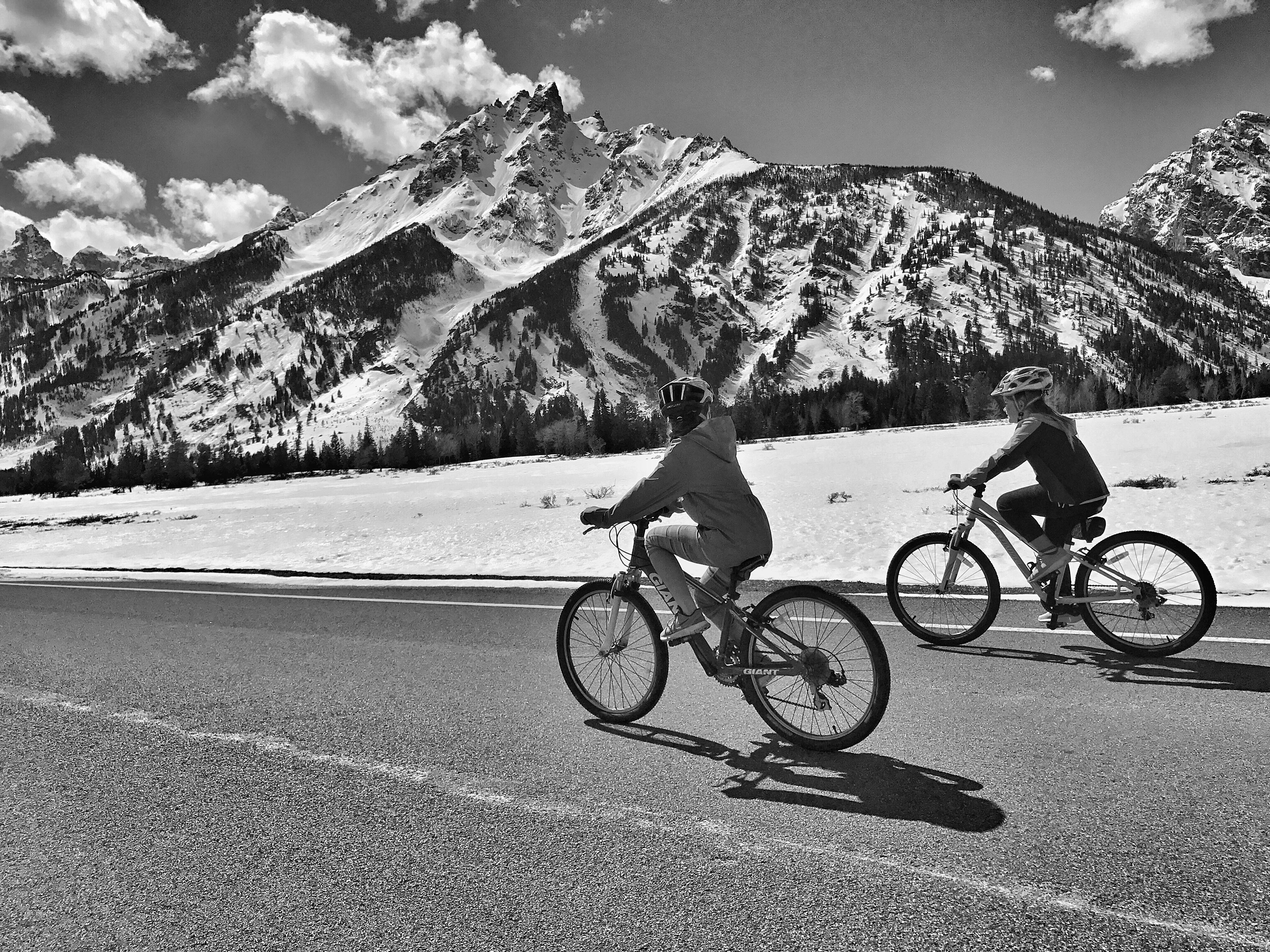 Spring biking on the inner park road in Grand Teton National Park