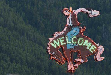 Welcome Sign Cowboy Bar Jackson Hole