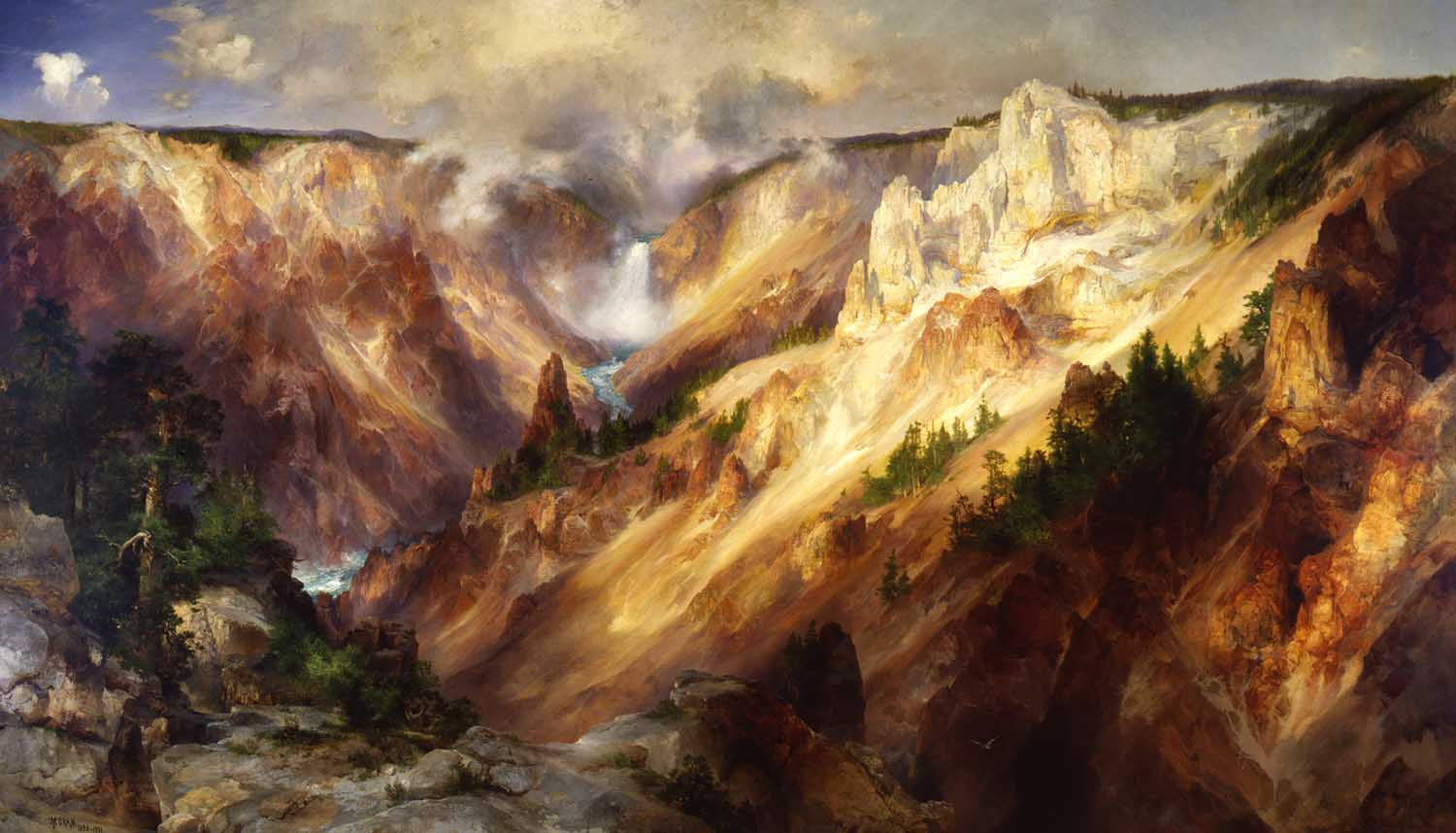 """The Grand Canyon of the Yellowstone,"" by Thomas Moran, whose paintings were used to persuade Congress to designate Yellowstone as a national park."