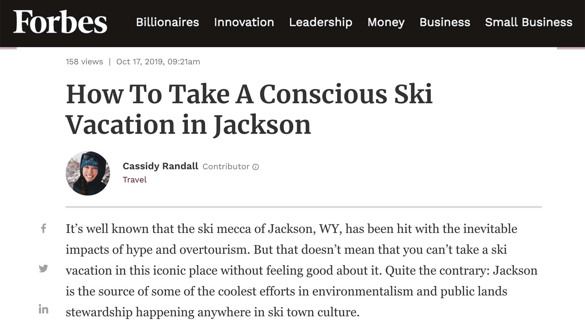 Forbes: Jackson Hole Ski Vacation