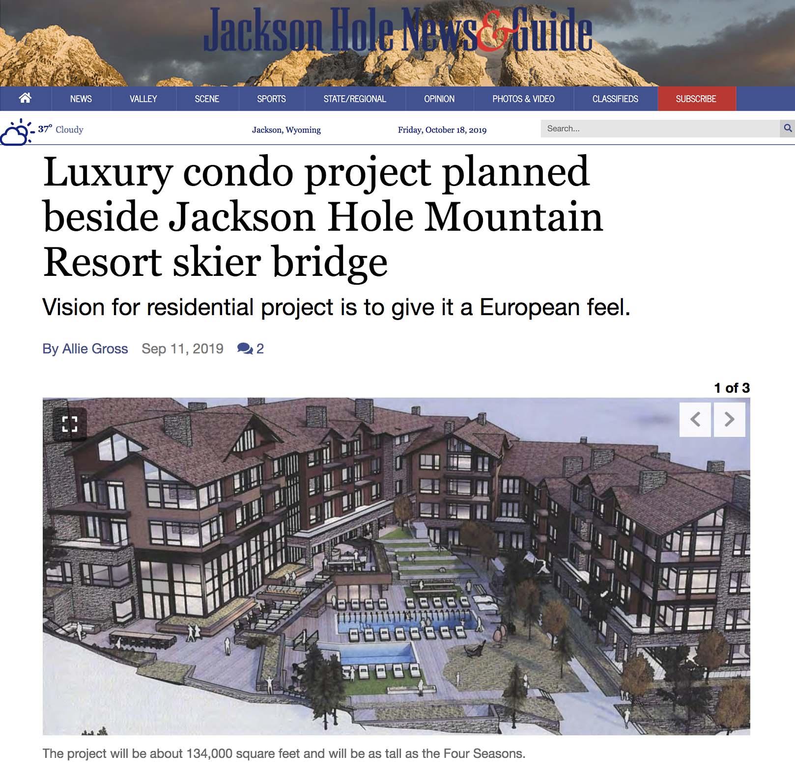 Luxury condo project planned beside Jackson Hole Mountain Resort skier bridge