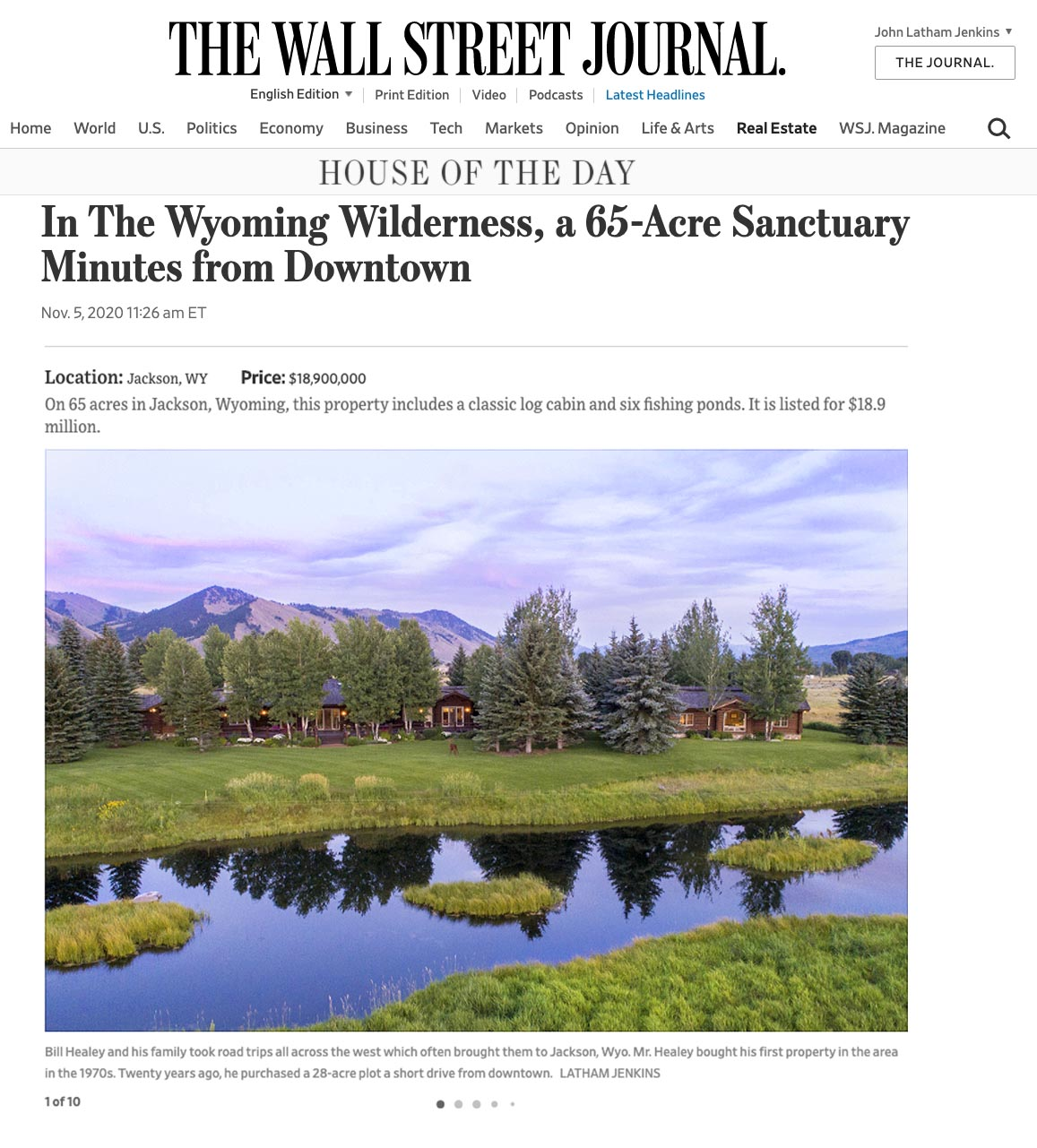 Wall Street Journal House of the Day - Cody Creek Sanctuary